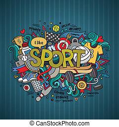 レタリング, 要素, 手, バックグラウンド。, doodles, スポーツ