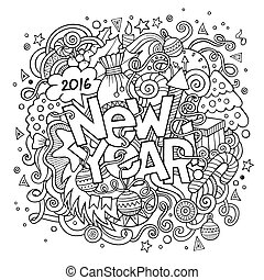 レタリング, 要素, 新しい, 手, 背景, 年, doodles
