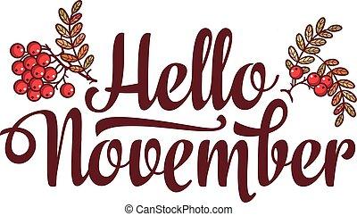 レタリング, 販売, テキスト, ∥あるいは∥, こんにちは, november., フライヤ, template...