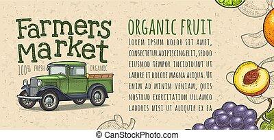 レタリング, 農夫, ピックアップ トラック, レトロ, 手書き, 市場, engraving.