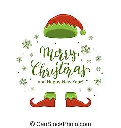 レタリング, 靴, 妖精, 緑, 陽気, 帽子, クリスマス