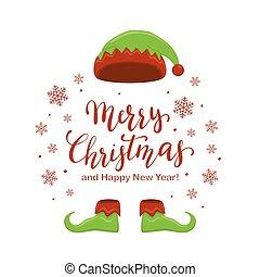 レタリング, 靴, 妖精, 陽気, 帽子, クリスマス
