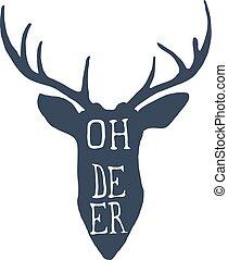 レタリング, 頭, シルエット, deer., おお, 鹿, ベクトル