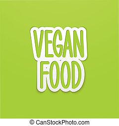レタリング, 食物, 書かれた, vegan, 手, calligraphy., ベクトル