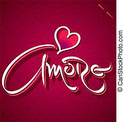 レタリング, amore, (vector), 手