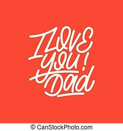 レタリング, dad., 愛, card., 挨拶, イラスト, ベクトル, あなた