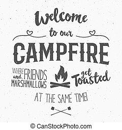 レタリング, effect., bonfire., 印, シンボル, クラブ, 面白い, 旅行, 型, -, 紋章,...