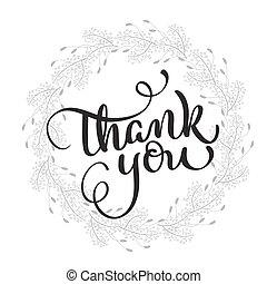 レタリング, eps10, 感謝しなさい, テキスト, フレーム, イラスト, バックグラウンド。, ベクトル, あなた, カリグラフィー, ラウンド