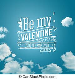 レタリング, illustration., バレンタイン, ベクトル, 美しい, style., カード