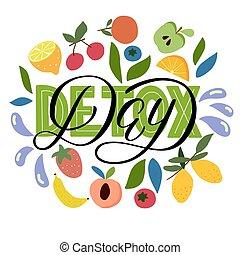 レタリング, leaves., tシャツ, detox, 大袈裟な表情をする, -, ポスター, 葉書, プリント, 白, カバー, ベリー, 背景, ベクトル, バックパック, デザイン, フルーツ, 日