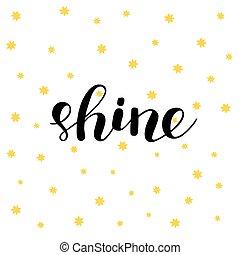 レタリング, shine., illustration., ブラシ
