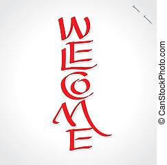 レタリング, 'welcome', (vector), 手