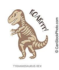 レックス, tyrannosaurus, イラスト, 恐竜, ベクトル, fossil., 漫画