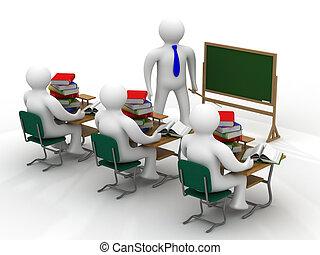 レッスン, 中に, a, 学校, class., 隔離された, 3d, image.