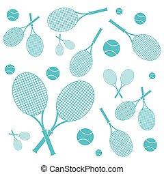 レッスン, 映像, ボール, カラフルである, テニスラケット, すてきである