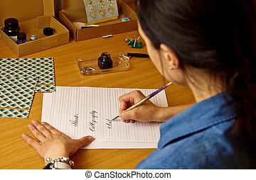 レッスン, sheet., ペーパーワーク, indian, 学生, オフィス。, 書く, インク ペン, caligraphy, つづり, 木製である, desk., ペーパー, 手紙, exercises., 文房具, 女の子, 白