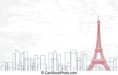 レッドグランジ, 線, ベクトル, イラスト, 色, バックグラウンド。, 都市, スタイル, 白, 青