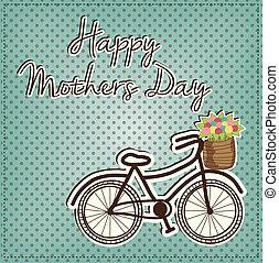 レトロ, ∥あるいは∥, 型, 自転車, ∥で∥, a, バスケット, フルである, の, 花