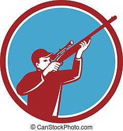 レトロ, の上, 射撃, 円, ハンター, ライフル銃