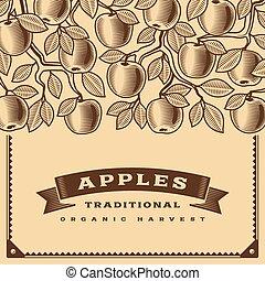 レトロ, アップル, 収穫, カード, ブラウン