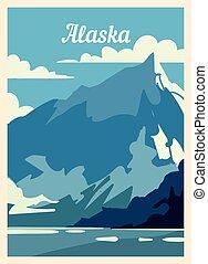 レトロ, アラスカ, illustration., skyline., ポスター, ベクトル, 都市, 型