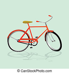 レトロ, イラスト, 自転車
