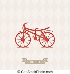 レトロ, イラスト, bicycle.