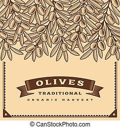 レトロ, オリーブ, 収穫, カード, ブラウン