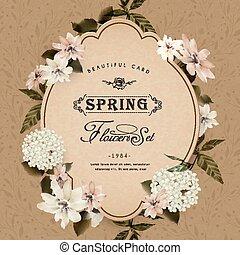 レトロ, カード, デザイン, 花