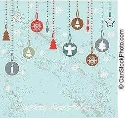 レトロ, クリスマス, 背景, ∥で∥, 装飾用である, ボール