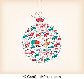レトロ, クリスマス, 背景, ∥で∥, bal