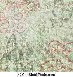 レトロ, グランジ, スクラップブック, 背景, ∥で∥, 蝶, そして, 渦巻