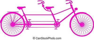 レトロ, タンデム自転車, 中に, ピンク, デザイン