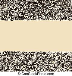 レトロ, テンプレート, インク, 花, 図画, カード