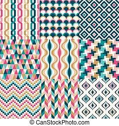 レトロ, パターン, seamless, 幾何学的
