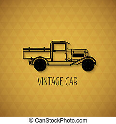 レトロ, ピックアップ, トラック, 自動車, 型, アウトライン, スタイル