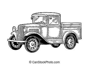 レトロ, ピックアップ, truck., 側, ビュー。, 型, 黒, 彫版