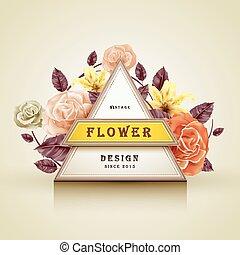 レトロ, フレーム, デザイン, 花