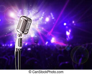 レトロ, マイクロフォン, 上に, 音楽コンサート