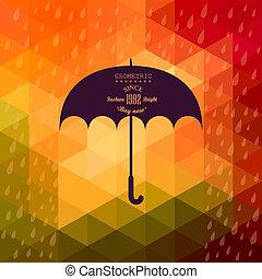 レトロ, 傘, シンボル, 上に, 情報通, 背景, 作られた, の, 三角形, レトロ, 背景, ∥で∥, 雨, パターン, そして, 幾何学的, shapes.label, design., 広場, 構成, ∥で∥, 幾何学的な 形, 色, 流れ, effect.