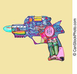 レトロ, 光線銃, おもちゃ, 明るい色