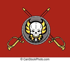 レトロ, 剣, 保護, 頭骨, 交差点