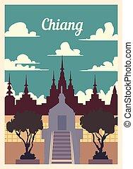 レトロ, 型, illustration., ベクトル, ポスター, 都市, chiang, スカイライン