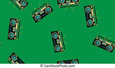 レトロ, 情報通, 80s, 90s, 2000s, 背景, 古い, 70s, レコーダー, パターン, seamless, テープ, 音楽, オーディオ, 緑