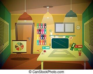 レトロ, 漫画, オフィス, 部屋