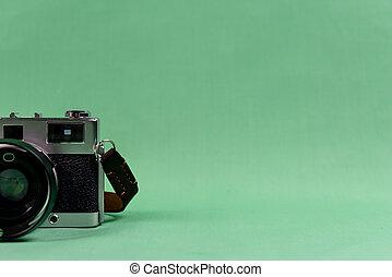 レトロ, 背景, カメラ, 緑