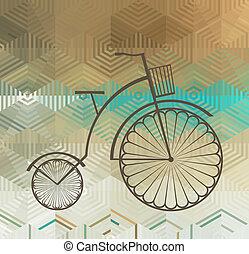 レトロ, 自転車, 上に, a, 背景を彩色しなさい