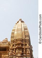 レトロ, 色, kajuraho., 写真, ヒンズー教信徒, 愛, 寺院