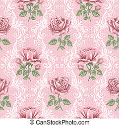 レトロ, 花, seamless, パターン, -, ばら