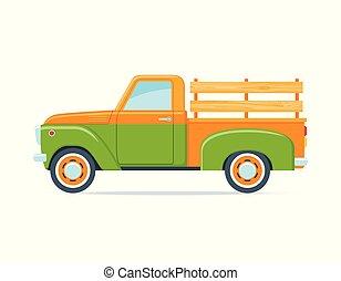 レトロ, 農夫, ピックアップ トラック